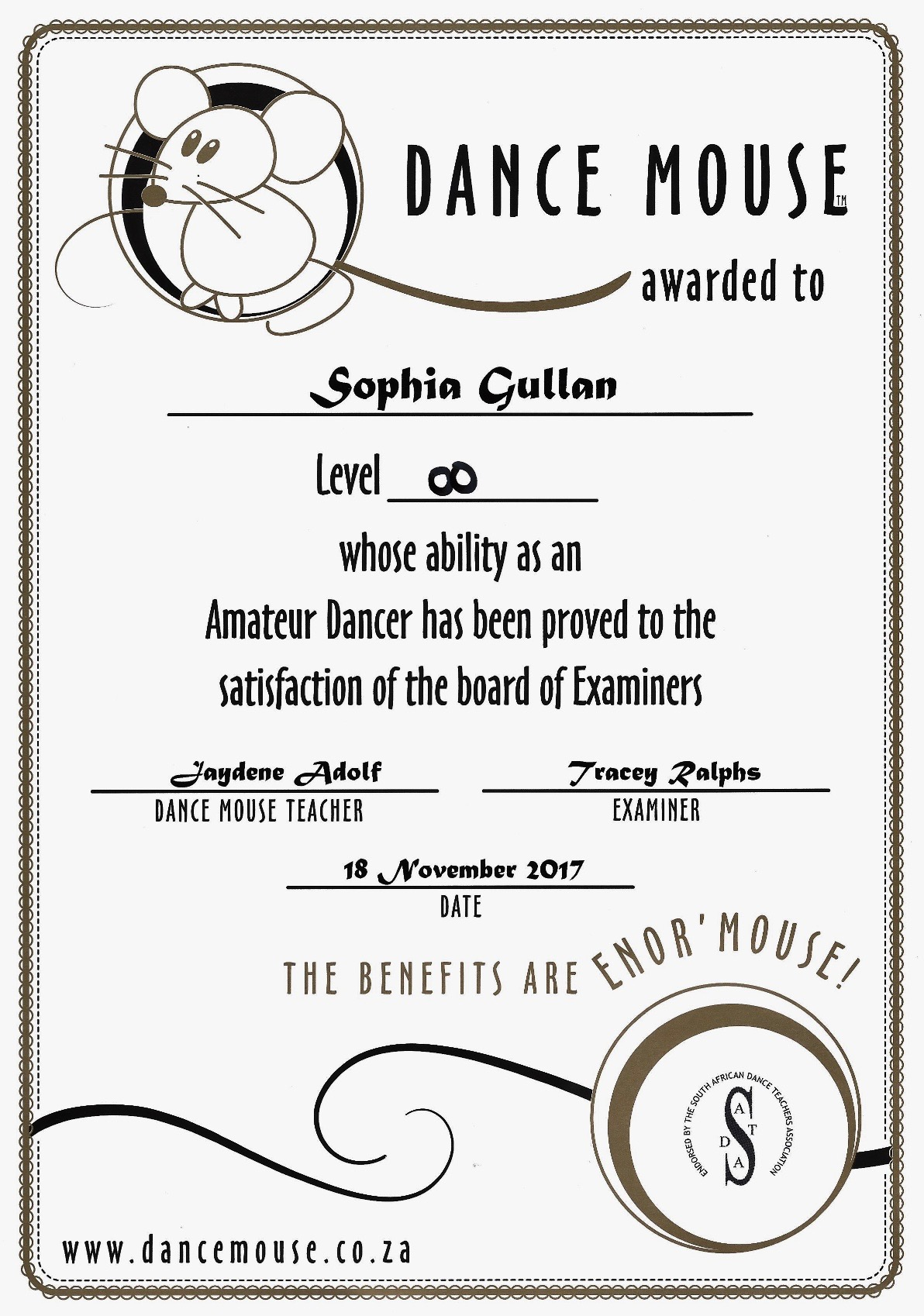 Dance Mouse certification